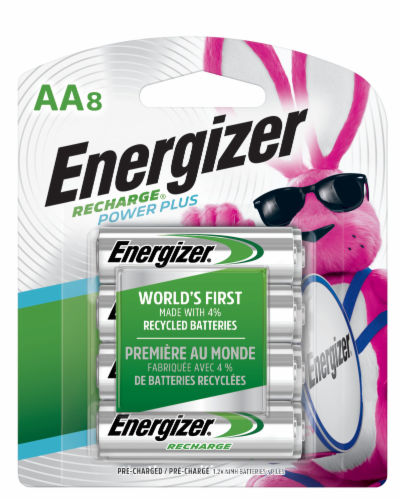 Energizer Recharge Power Plus AA Batteries Perspective: front