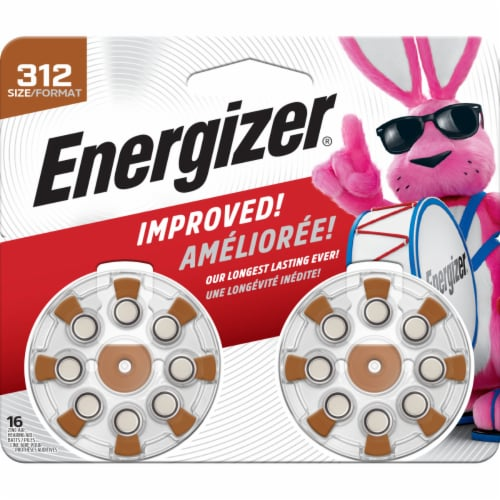 Energizer® EZ Turn and Lock Size 312 Hearing Aid Batteries Perspective: front