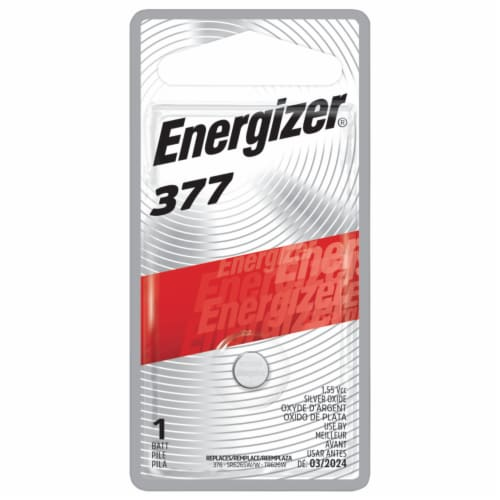 Energizer 377 Silver Oxide Battery Perspective: front
