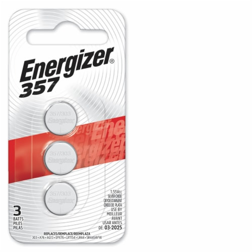 Energizer® 357 Silver Oxide 1.5-Volt Coin Battery Perspective: front