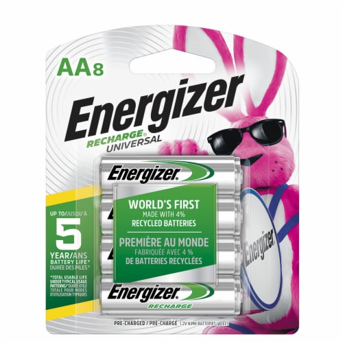 Energizer® Recharge® Universal Rechargeable AA Batteries Perspective: front