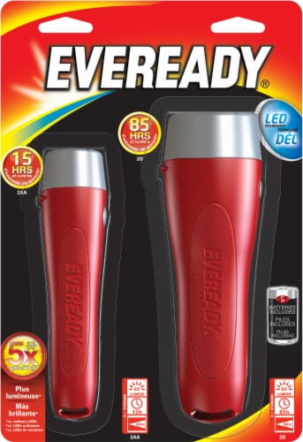 Eveready LED Flashlight - 2 Piece - Red / Silver Perspective: front