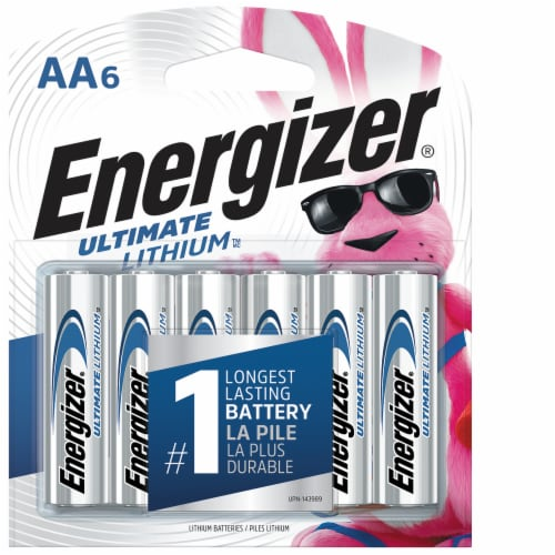 Energizer® Ultimate Lithium AA Batteries - 6 Pack Perspective: front