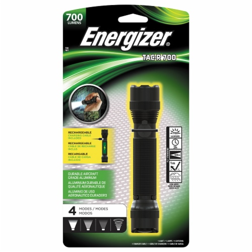 Energizer® Rechargeable TAC-R 700 Flashlight - Black Perspective: front