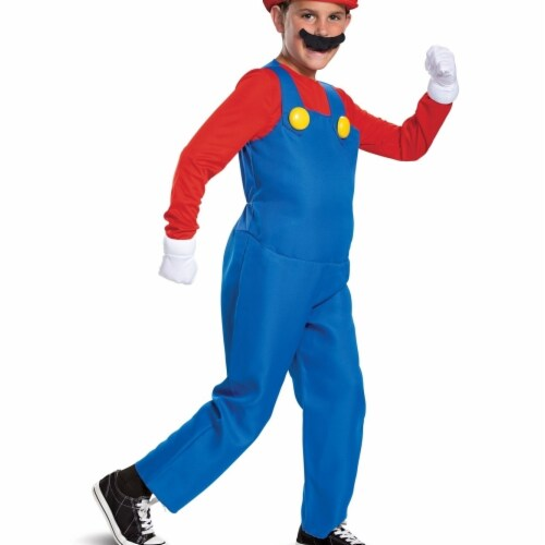 Disguise 403017 Child Mario Deluxe Costume for Boys, Medium 7-8 Perspective: front