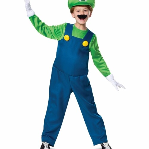 Disguise 403020 Child Luigi Deluxe Costume for Boys, Medium 7-8 Perspective: front