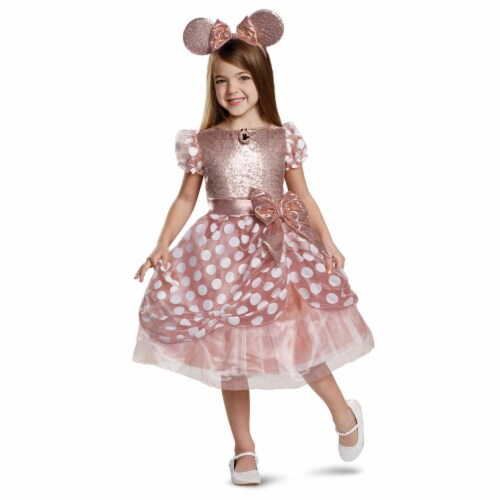 Disguise 403073 Girls Rose Gold Minnie Deluxe Child Costume, Small Perspective: front