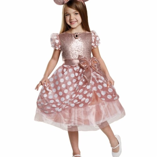 Disguise 403072 Girls Rose Gold Minnie Deluxe Child Costume, Medium Perspective: front