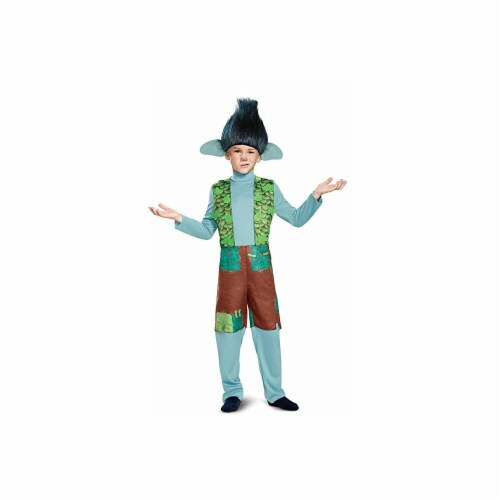 Disguise 249110 Branch Deluxe with Wig Trolls Costume, Small Perspective: front