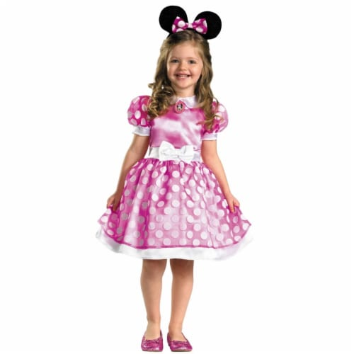 Morris Costumes Toddler 3T-4T Minnie Mouse Classic Costume - Pink Perspective: front
