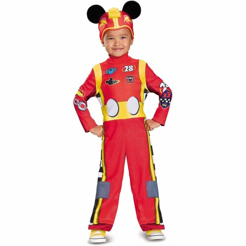 Disguise Mickey Roadster Classic Toddler Costume, Multicolor, Medium (3T-4T) Perspective: front