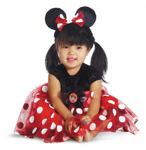 Red Minnie Mouse Deluxe Infant Costume (12 - 18 Months) Perspective: front