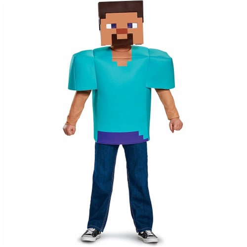 Disguise Steve Classic Minecraft Costume, Multicolor, Small (4-6) Perspective: front