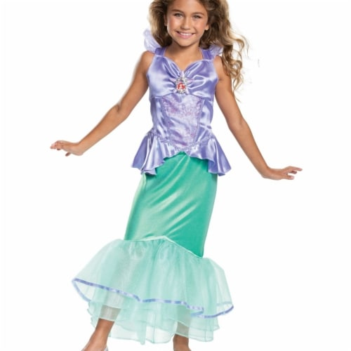 Disney Princess Ariel Classic Girls' Costume, Teal (4-6X) Perspective: front