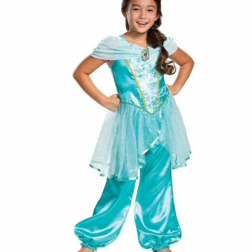 Disney Princess Jasmine Classic Girls' Costume, Teal (4-6x) Perspective: front