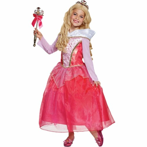 Disguise DG67055L Girls Disney Aurora Deluxe Costume - Size 4-6 Perspective: front