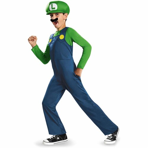 Disguise Nintendo Super Mario Brothers Luigi Classic Boys Costume, Medium/7-8 Perspective: front