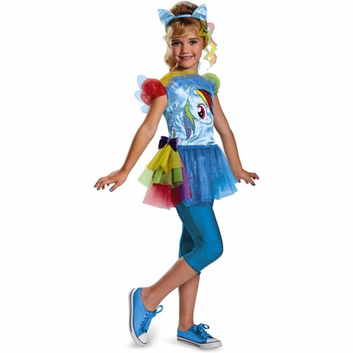 Disguise Hasbro's My Little Pony Rainbow Dash Classic Girls Costume, X-Small/3T-4T Perspective: front