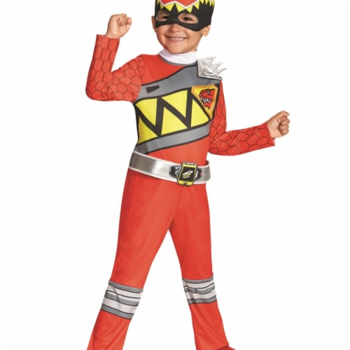 Morris DG82734L Dino Classic Red Ranger Child Costume - 4-6 Perspective: front