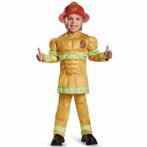 Fireman Toddler Muscle Costume, Medium (Size 3T-4T) Perspective: front