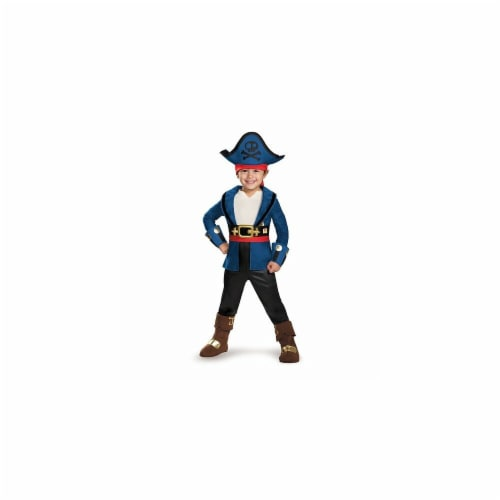 Disguise 243499 Neverland Pirates-Captain Jake Deluxe Toddler Costume, Blue - Small Perspective: front