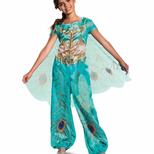 Disguise 403111 Girls Aladdin Jasmine Teal Classic Child Costume, Small 4-6X Perspective: front