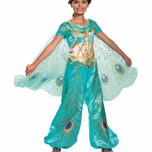 Disguise 403113 Girls Aladdin Jasmine Teal Deluxe Child Costume, Medium 7-8 Perspective: front