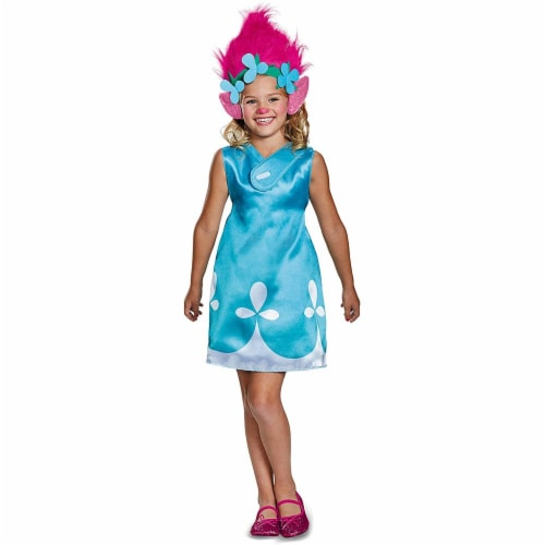 Disguise Poppy Classic W/Headband Trolls Costume, Blue, Medium (7-8) Perspective: front
