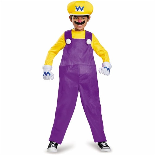Wario Deluxe Super Mario Bros. Nintendo Costume, (Size Large 10-12) Perspective: front