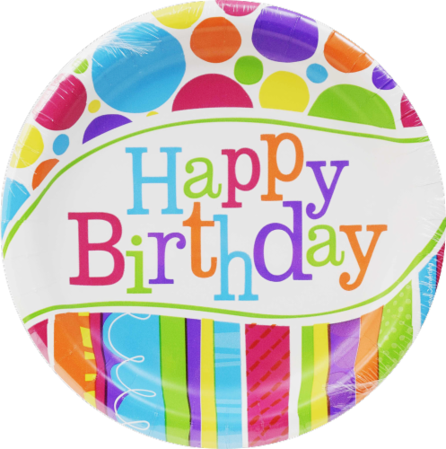 Party Creations Bright and Bold Birthday Lunch Plates 8 Pack Perspective: front