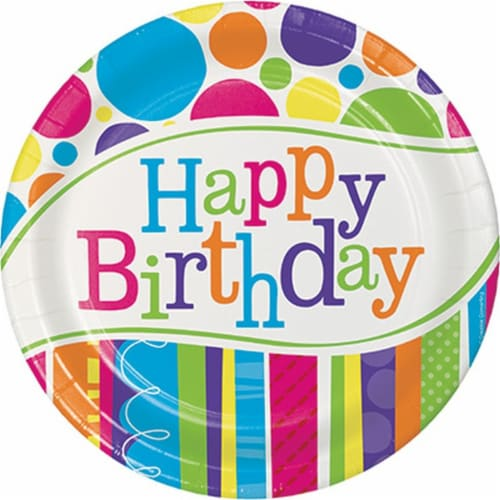 Creative Converting Bright and Bold Happy Birthday Paper Plates Perspective: front