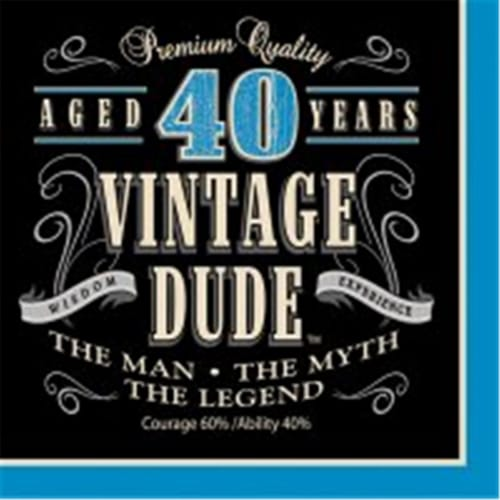 Creative Converting 664067 Vintage Dude - Lunch Napkins, 40th - Case of 192 Perspective: front