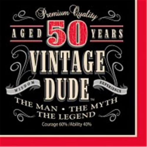 Creative Converting 661567 Vintage Dude - Lunch Napkins, 50th - Case of 192 Perspective: front