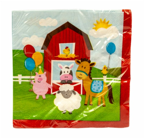 Creative Converting Farmhouse Fun Beverage Napkins Perspective: front