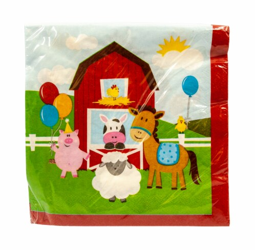 Creative Converting Farmhouse Fun Luncheon Napkins Perspective: front