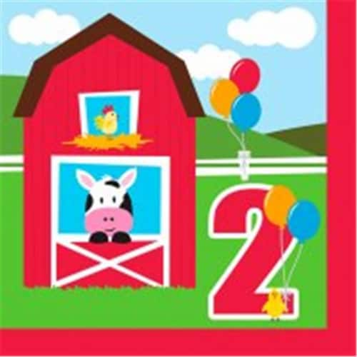 Creative Converting 662506 Farmhouse Fun - Lunch Napkins, 2nd Birthday - Case of 216 Perspective: front
