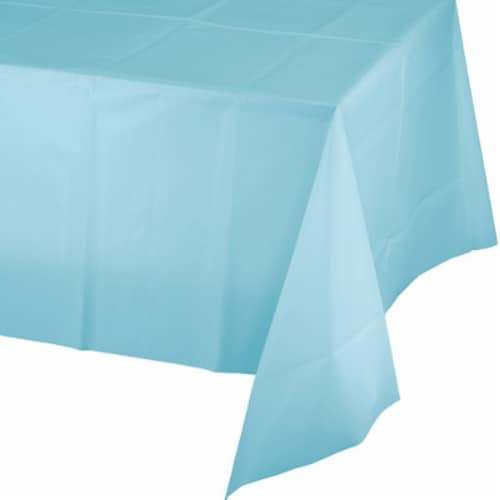 James Paul Products Plastic Tablecloth - Light Blue Perspective: front
