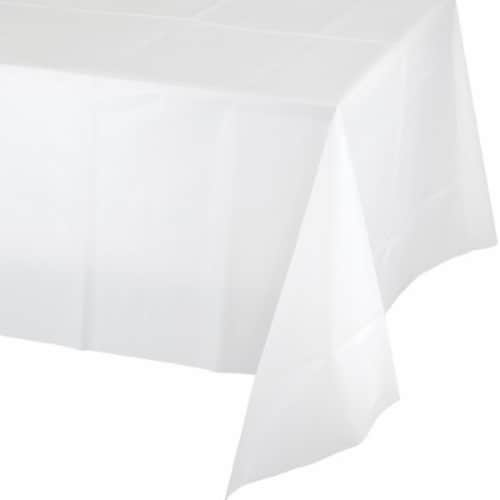 James Paul Products Plastic Tablecloth - White Perspective: front