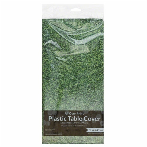 Creative Converting All Over Print Plastic Table Cover - Green Perspective: front