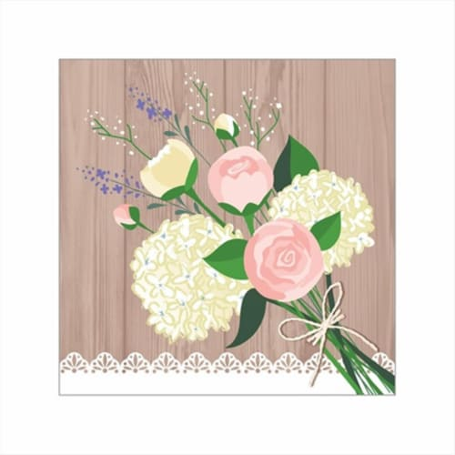 Creative Converting 658706 Rustic Wedding - Beverage Napkins - Case of 192 Perspective: front