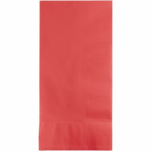 Creative Converting 673146B Coral Dinner Napkins 2-Ply, 0.12 Fold - Case of 600 Perspective: front
