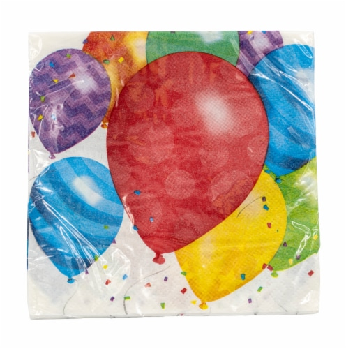 Creative Converting Balloon Blast Beverage Napkin Perspective: front