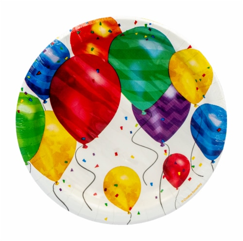Creative Converting Balloon Blast Lunch Plate Perspective: front