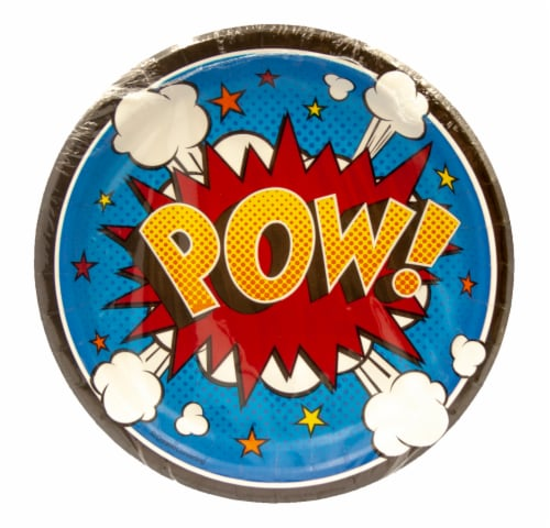 Creative Converting Superhero Slogans Lunch Plates Perspective: front