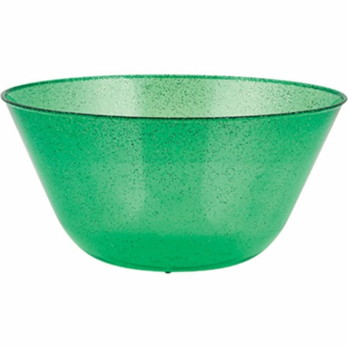 Creative Converting 325477 11 in. Plastic Bowl with Glitter, Green Perspective: front