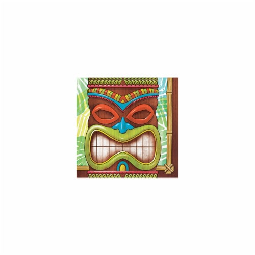 Creative Converting 327307 5 in. Tiki Time Beverage Paper Napkins Perspective: front