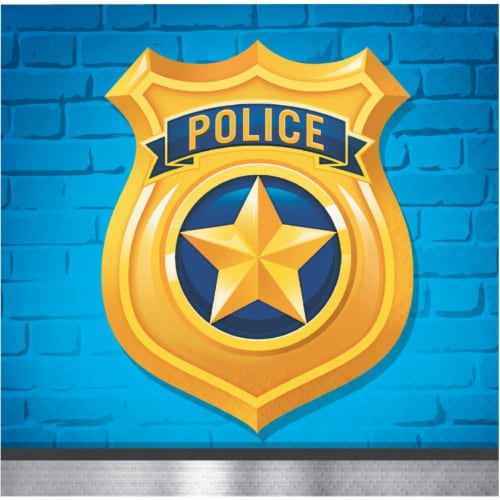 Creative Converting 300929 Police Party Beverage Napkin - 16 Piece Perspective: front