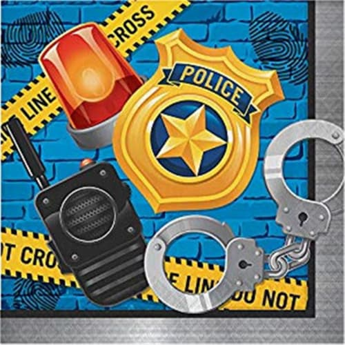 Creative Converting 300930 Police Party Lunch Napkin - 16 Piece Perspective: front