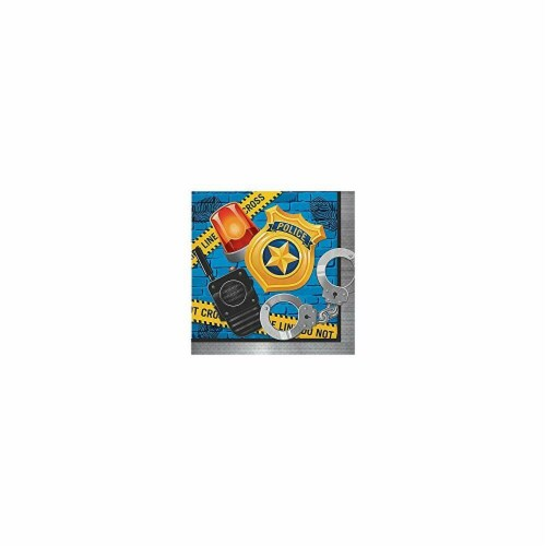 Creative Converting 300931 Police Party Happy Birthday Lunch Napkin - 16 Piece Perspective: front