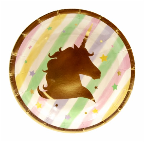 Creative Converting Unicorn Sparkle Foil Stamp Lunch Plates Perspective: front